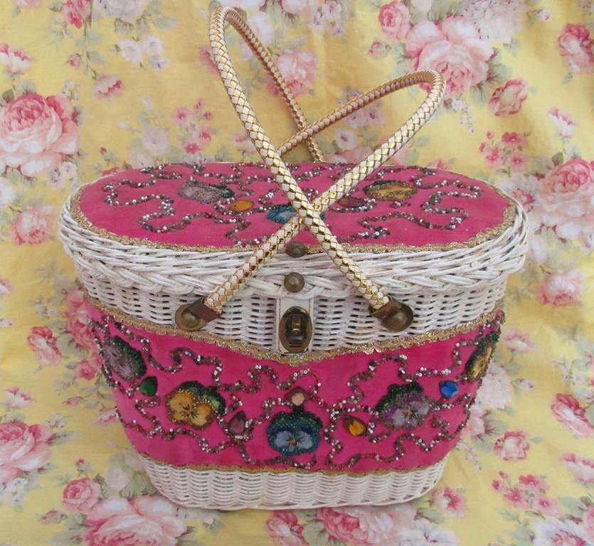 pink white wicker midas of miami purse